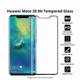 Merkloos Huawei Mate 20 Pro  full cover Screen Protector-9H HD clarity Hardness Tempered Glass Zwart