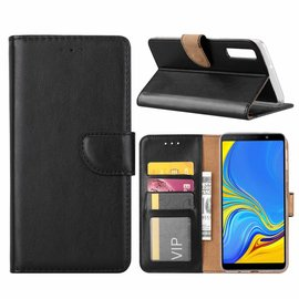 Merkloos Samsung Galaxy A9 2018 Zwart Booktype / Portemonnee TPU Lederen Hoesje