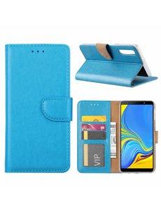 Merkloos Samsung Galaxy A9 2018 Blauw Booktype / Portemonnee TPU Lederen Hoesje
