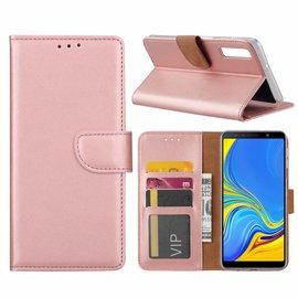 Merkloos Samsung Galaxy A9 2018 Rose Goud Booktype / Portemonnee TPU Lederen Hoesje