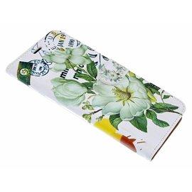 Ntech Ntech iPhone Xs Max 3D Bloemen Design Book Hoesje Met Pasjesruimte & Magneet flapje