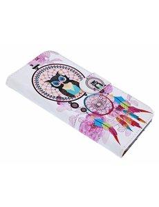 Merkloos iPhone X / Xs 3D Dromenvanger & uil Design Book Hoesje Met Pasjesruimte & Magneet flapje