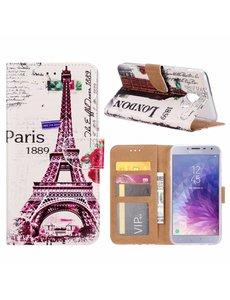 Merkloos Samsung Galaxy J4+ (Plus) 2018 Eiffeltoren 1889 Boek hoesje met Pasjesruimte