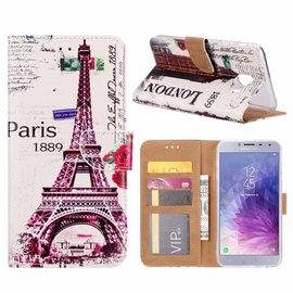 Merkloos Samsung Galaxy J4+ (Plus) 2018 Eiffeltoren 1889 Design Boek Hoesje Met Pasjesruimte & flapje