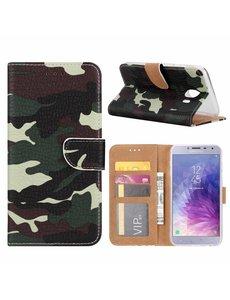 Merkloos Samsung Galaxy J4+ (Plus) 2018 Camouflage Boek hoesje met Pasjesruimte