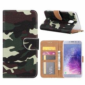 Merkloos Samsung Galaxy J4+ (Plus) 2018 Camouflage Design Boek Hoesje Met Pasjesruimte & flapje