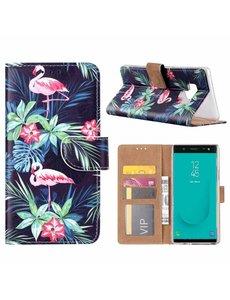 Merkloos Samsung Galaxy J6+ (Plus) 2018 Flamingo Boek hoesje met Pasjesruimte