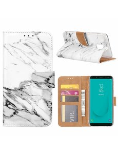 Merkloos Samsung Galaxy J6+ (Plus) 2018 Marmer Boek hoesje met Pasjesruimte
