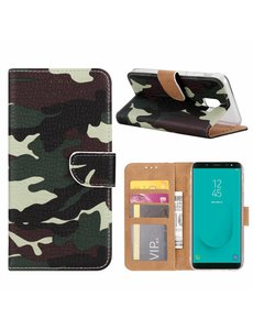 Merkloos Samsung Galaxy J6+ (Plus) Camouflage Boek hoesje met Pasjesruimte