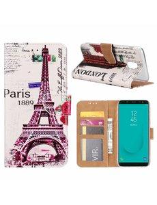Merkloos Samsung Galaxy J6+ (Plus) 2018 Eiffeltoren 1889 Boek hoesje met Pasjesruimte