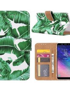 Merkloos Samsung Galaxy J6+ (Plus) 2018 Blaadje Boek hoesje met Pasjesruimte