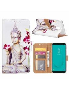 Merkloos Samsung Galaxy J6+ (Plus) 2018 Boeddha & Bloem Boek hoesje met Pasjesruimte