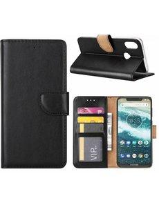 Merkloos Motorola One Zwart Booktype / Portemonnee TPU Lederen Hoesje