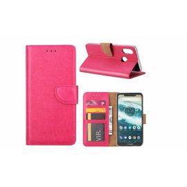 Merkloos Motorola One Roze Booktype / Portemonnee TPU Lederen Hoesje