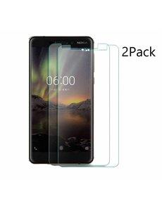 Merkloos 2Pack Nokia 6.1 Plus Screenprotector Tempered Glass