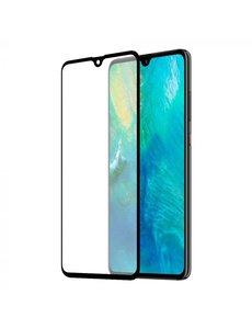 Merkloos Huawei Mate 20 full cover Screenprotector Tempered Glass Zwart