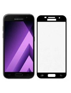 Merkloos Samsung Galaxy A5 2017 full cover Screenprotector Tempered Glass Zwart