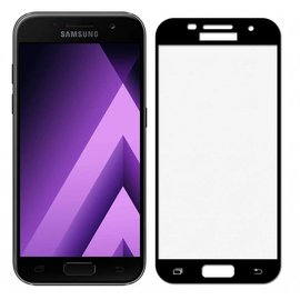 Merkloos Samsung Galaxy A5 2017 full cover Screen Protector-9H HD clarity Hardness Tempered Glass Zwart