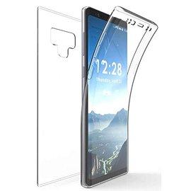 Merkloos Galaxy Note 9 Dual TPU Case hoesje 360° Cover 2 in 1 Case ( Voor en Achter) Transparant
