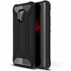 Merkloos Huawei Mate 20 Pro Zwart Anti Shock Dual Layer Hybrid Armor Carbon hoesje