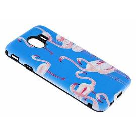 Merkloos Samsung Galaxy J4 Flamingo & Blauw Design 3D Dual Layer Back Cover