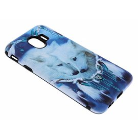 Merkloos Samsung Galaxy J4 Dromenvanger Wolven Design 3D Dual Layer Back Cover