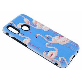 Merkloos Hauwei P20 Lite Flamingo & Blauw Design 3D Dual Layer Back Cover