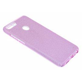 Merkloos Huawei P Smart Paars Glitter TPU Back Cover Hoesje