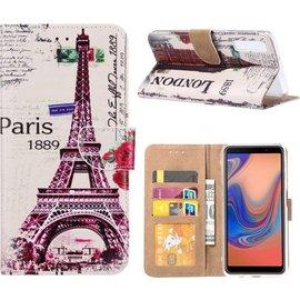 Merkloos Samsung Galaxy A7 (2018) Eiffeltoren (1889) Design Boek Hoesje Met Pasjesruimte & flapje