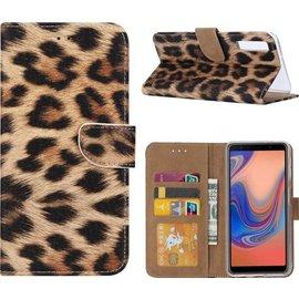 Merkloos Samsung Galaxy A7 (2018) Luipaard Design Boek Hoesje Met Pasjesruimte & flapje