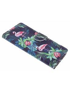 Merkloos Samsung Galaxy A6+ (Plus) 2018 Flamingo Design Booktype Kunstleer Hoesje Met Pasjesruimte
