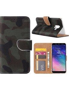 Merkloos Samsung Galaxy A6+ (Plus) 2018 Camouflage Design Booktype Kunstleer Hoesje Met Pasjesruimte