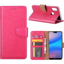 Merkloos Hoesje voor Huawei P Smart (2019) portemonnee hoes / met opbergvakjes Roze