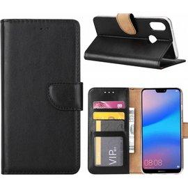 Merkloos Hoesje voor Huawei P Smart 2019 portemonnee hoesje / met opbergvakjes Zwart