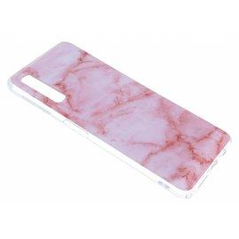 Merkloos Samsung Galaxy A7 (2018) Marmer Design Roze kleur Soft TPU Back Cover Hoesje