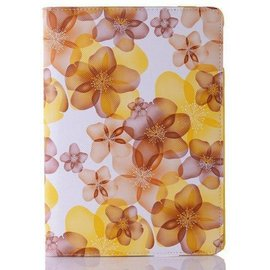 iPad Mini / Mini 2 / mini 3 Flip Flower hoesje /  Luxury 360 draaibaar case Multi stand Geel
