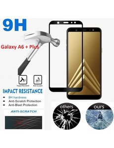 Samsung Galaxy A6+ (Plus 2018) HD clarity Hardness Full Coverage Bubble Free tempered glass zwart
