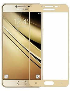 Samsung Galaxy J3 2017 full cover ultra clear HD clarity tempered glass Goud
