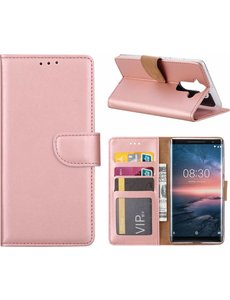 Nokia 8 Sirocco hoesje book case style / portemonnee case Rose Goud