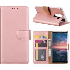 Nokia 8 Sirocco  hoesje book case style / portemonnee case Rose Goud