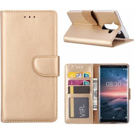Nokia 8 Sirocco  hoesje book case style / portemonnee case Champagne Goud