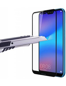 Huawei P20 Lite Scratch-Proof / Anti-Shock / Shatter-proof Full cover Screenprotector / Tempered Glass Zwart
