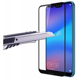 Huawei P20 Lite Scratch-Proof / Anti-Shock / Shatter-proof Full cover Screen Protector / Tempered Glass Zwart