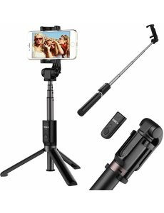 Ntech 3 in 1 Draadloos Selfie Stick Tripod met 360° rotatie Phone Clip Mount en Bluetooth Remote shutter voor iPhone X / iPhone 8 / 8 Plus / 7 / 7 Plus / 6 / 6 Plus / Samsung Note 8 / S8 / S8 Plus / OnePlus (Black)