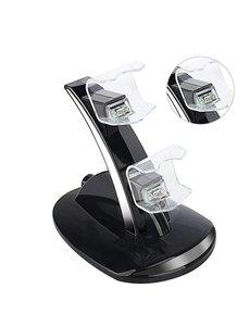 Merkloos Zwart Oplaadstation Slim Dual Oplader voor Playstation 4 Controller