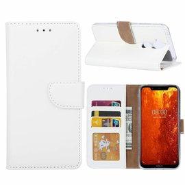 Ntech Ntech Hoesje voor Nokia 8.1 portemonnee hoesje / met opbergvakjes wit