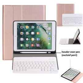 Ntech Ntech Rose Goud Magnetically Detachable / Wireless Bluetooth Keyboard hoesje met Stylushouder voor iPad Air 1-2/ iPad Pro 9.7/ iPad 9.7 (2017-2018)