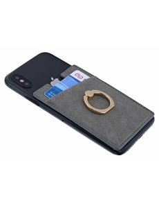 Ntech Ntech Peel & Stick universele Smartphone Pocket kaarthouder met een ringstandaard Grijs