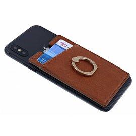 Ntech Ntech Peel & Stick universele Smartphone Pocket kaarthouder met een ringstandaard Bruin