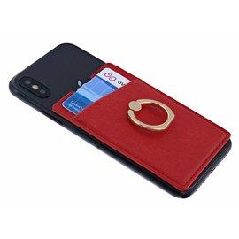 Ntech Ntech Peel & Stick universele Smartphone Pocket kaarthouder met een ringstandaard Rood